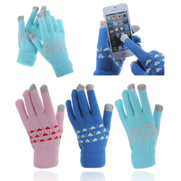 Capacitive Touch Screen Hand Warmer Knit Gloves For Tablet Cellphone