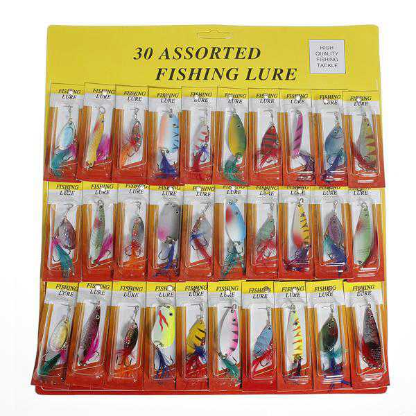 30Pcs Assorted Trout Spoon Metal Fishing Lures Spinner Baits Tackle