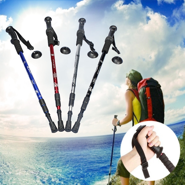3-section Adjustable Canes Walking Hiking Sticks Trekking Pole Compass