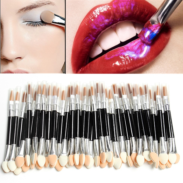 50Pcs Disposable Sponge Eye Shadow Lip Brushes Applicator Set