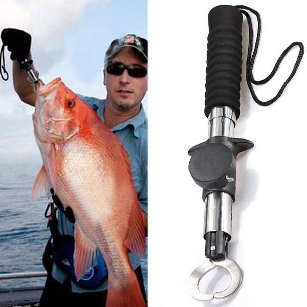 3in1 Fish Lip Gripper Trigger Fishing Holder Spring Weight Scale Ruler