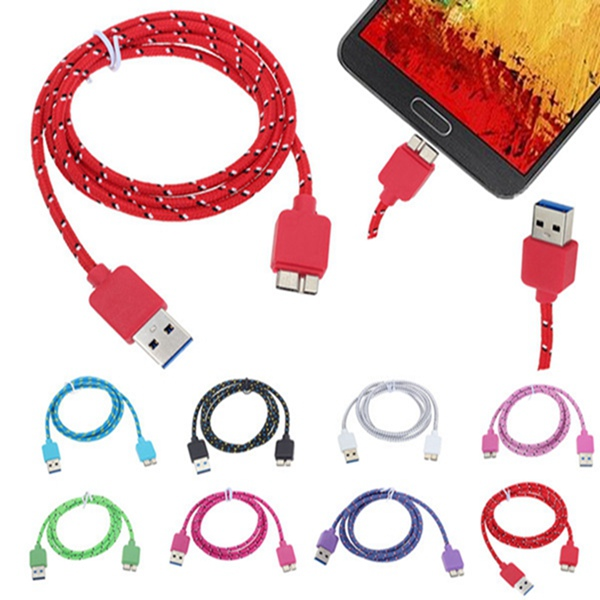 1M Braided Fabric USB Data Sync Charger Cable For Samsung Note 3 S5