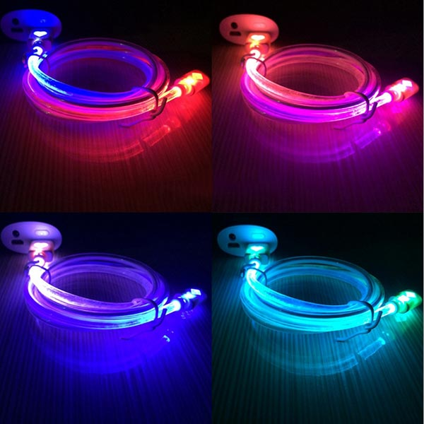 7 Colours Gradient Glow Light V8 Charging Cable Random Shipment
