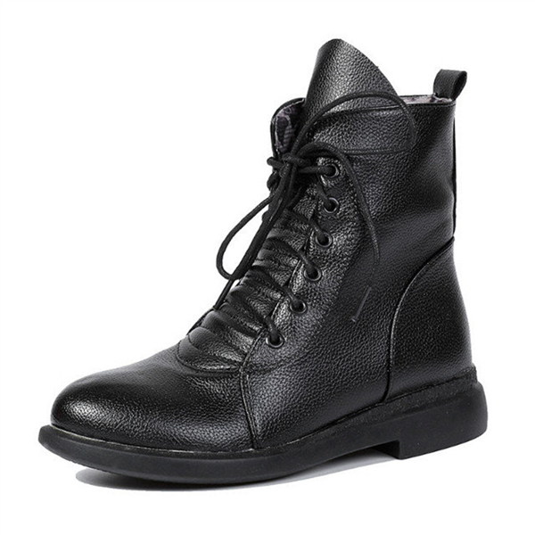 Women Casual Martin Boots Lace Up Flat Boots Round Toe Martin Boots