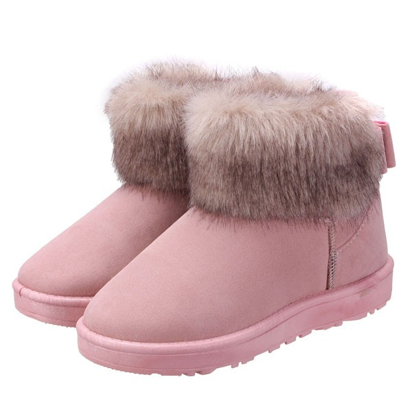 Women Snow Boots Winter Warm Plush Artificial Fur Ankle Boots Casual Bowknot Shoes