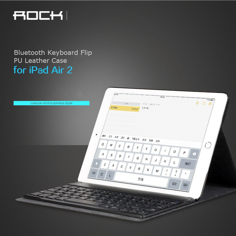 Rock Ultrathin Bluetooth Keyboard Flip PU Leather Case Cover For iPad Air 2 9.7 Inch