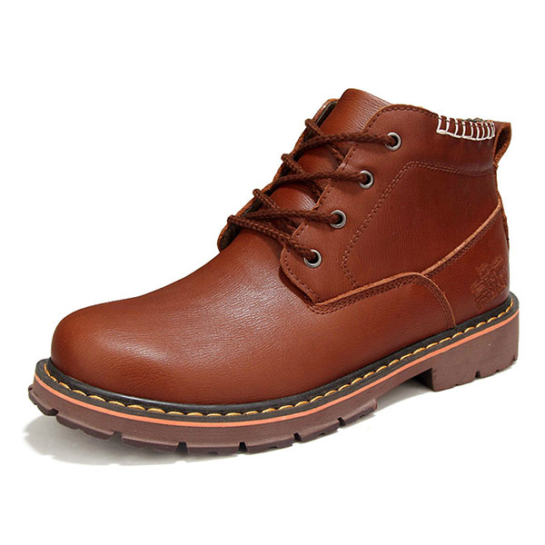 New Men Casual Outdoor Comfortable Lace-up Non-Slip Business Leather Shoes Martin Boots