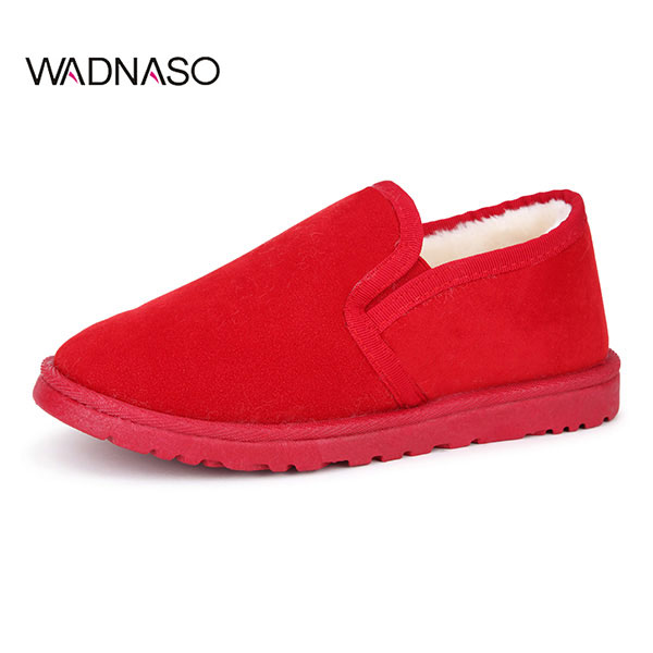 WADNASO Women Winter Plush Cotton Keep Warm Comfortable Slip-On Suede Snow Boots