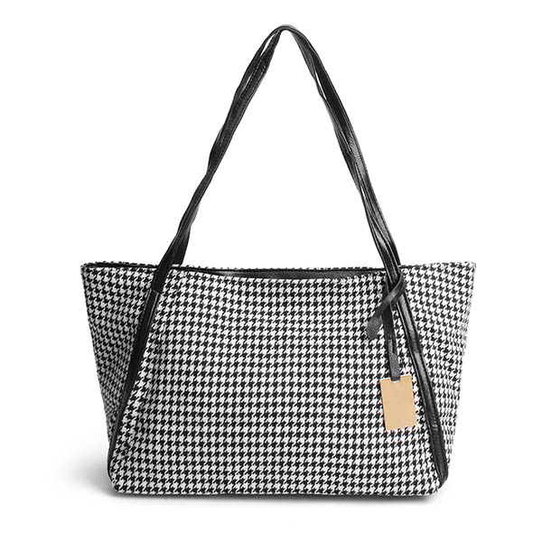 Women Canvas Houndstooth Handbag Shopping Bag