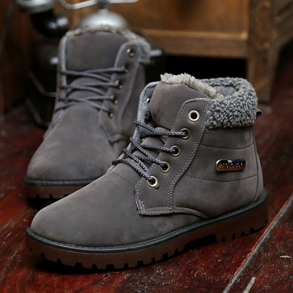 New Men Winter Plush Cotton High Top Lace-Up Keep Warm Outdoor Martin Boots Snow Boots