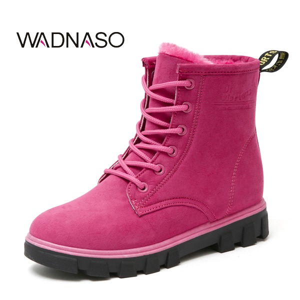 WADNASO Women Snow Boots New Winter Keep Warm Plush Ankle Short Boots Martin Suede Boots