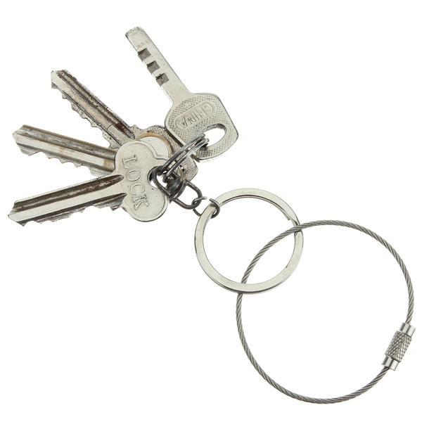 Stainless Steel Wire keychain Cable Key Ring Twist Barrel