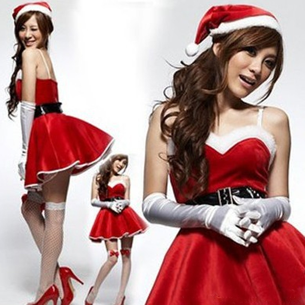 Christmas Party Costume Stylish Women Strap Backless Red Lint