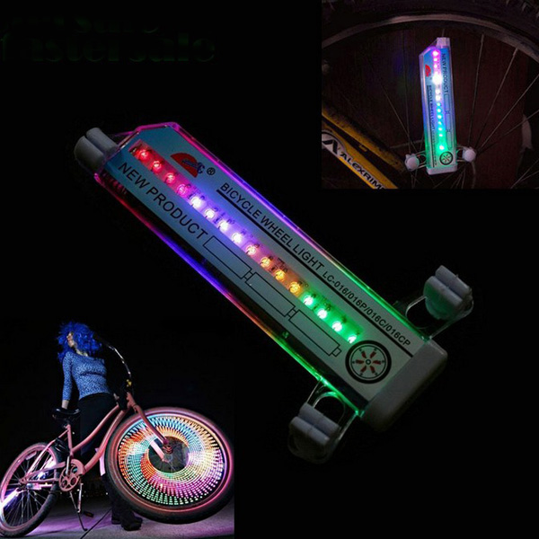 32 Change Cycling Bike Bicycle Tire Wheel Valve 16 Led Flash Light