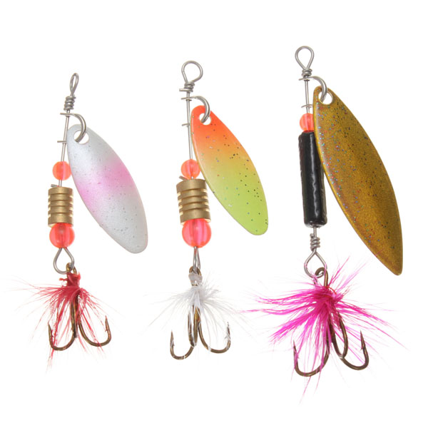 30x Metal Assorted Laser Fishing Lure Spinner Baits Feather Hook Set