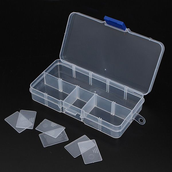 10 Compartments Storage Plastic Adjustable Electronics Tool Box