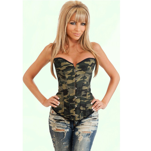 Army Girl Costume Camouflage Camp Print Boned Corset Bustier