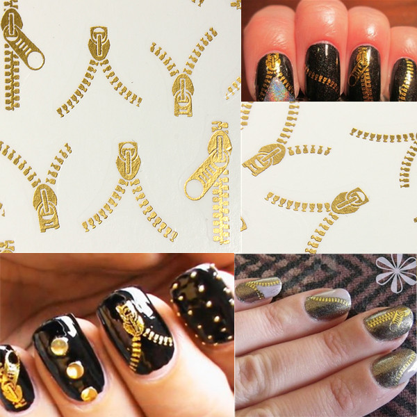 20 Pattern Nail Art Tips Golden Zipper Water Transfer Decals Stickers