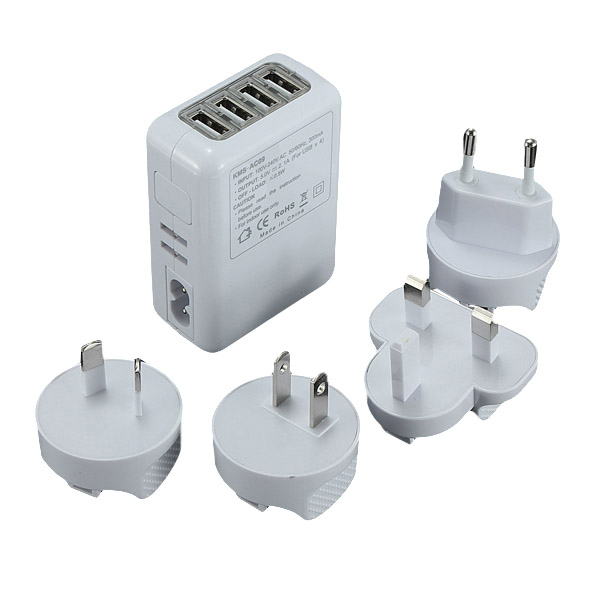 4 Ports USB Wall Home Charger Adapter For iPhone Smartphone Device