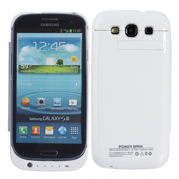 3200mah Back Battery Leather Case Holder For Samsung Galaxy S3