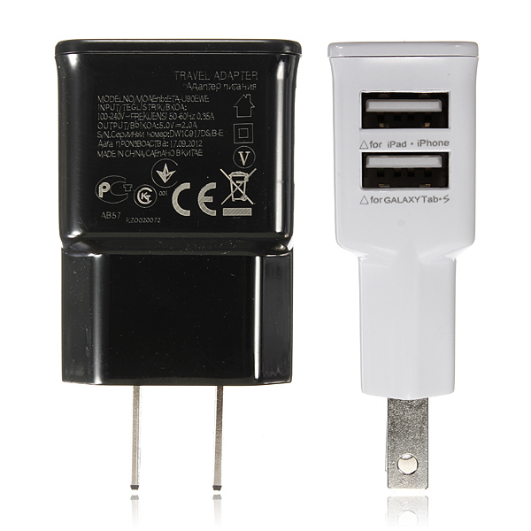 2 Dual USB Ports US Plug Charger Adapter For iPhone Smartphone Device