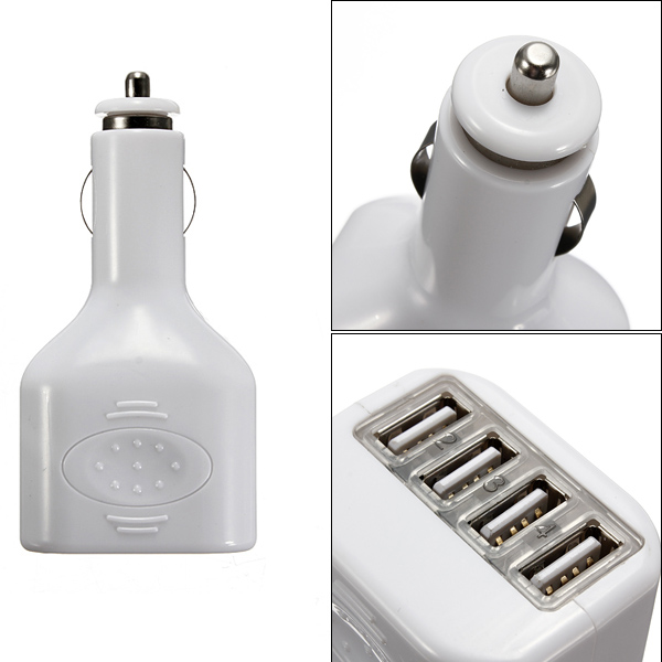 4 USB Ports 2A Mini Auto Car Power Charger Adapter For iPhone iPad