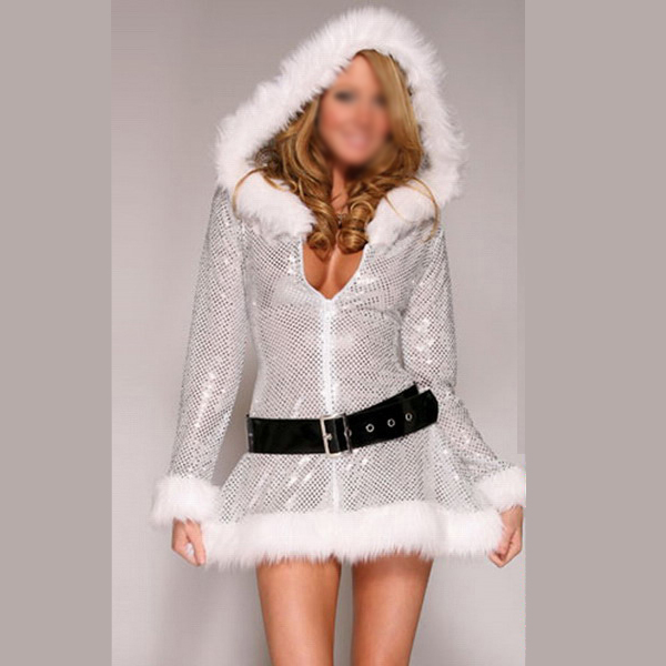 Costume Charming Ladies Silver Sequin Long Sleeve Hooded Santa
