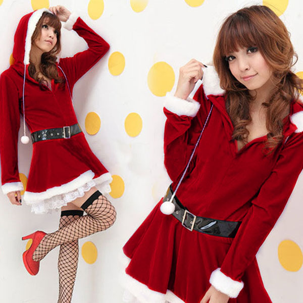 Christmas Costume High Quality Velvet Women's Long Sleeve Hooded