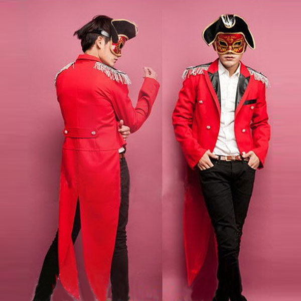 Halloween Costume Mens Red Tuxedo Magician Suit  Party Dress Stage
