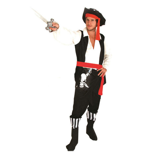 Halloween Clothing Mens Black Skull Pirate Costume Outfit Fashion