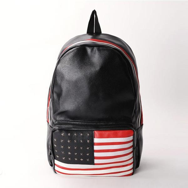 Fashion PU Leather Rivet American Flag Backpack
