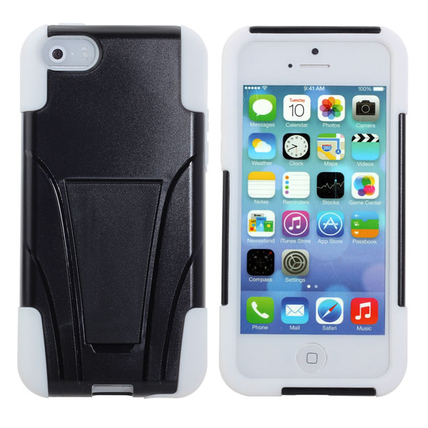 Hybrid Hard Silicone Case Cover With Stand For iPhone5 5S