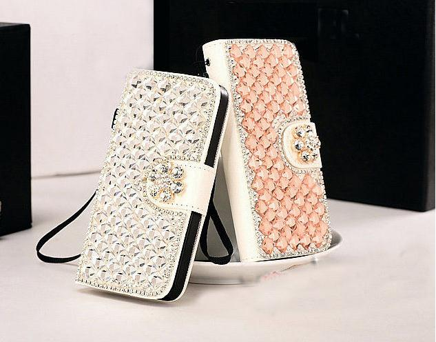 New Bling Diamonds Flower Leather Flip Wallet Cover Case For iPhone 6