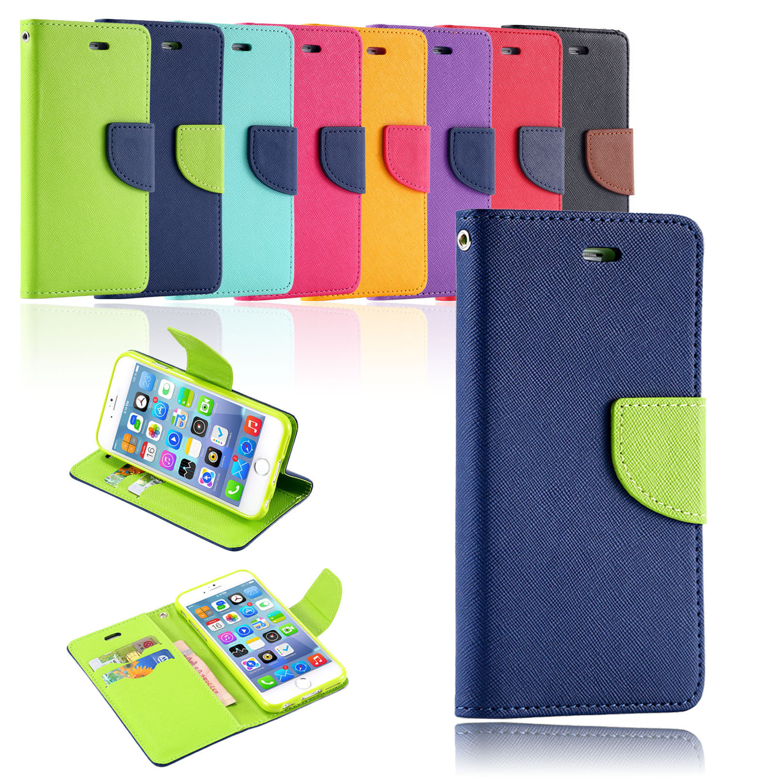 Korean Version Hit Color Leather Gel Wallet  Cover Case For iPhone 6