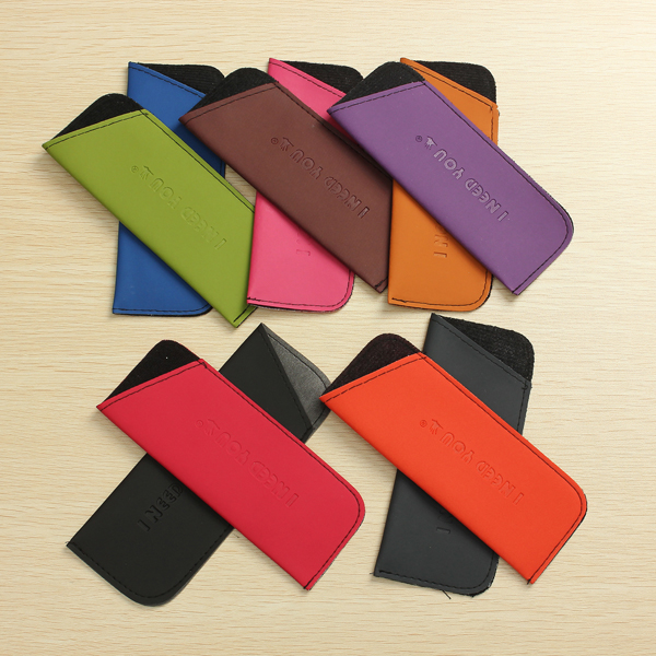 Eyeglass Pouch Glasses Case Cosmetic Stationery Bag Soft Smooth 10 Candy Colors