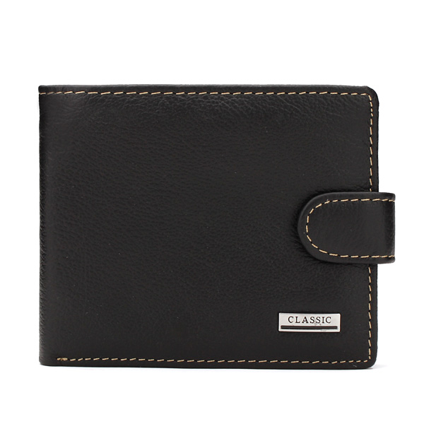 Men Genuine Leather Business Wallet Card Holder with Buckle
