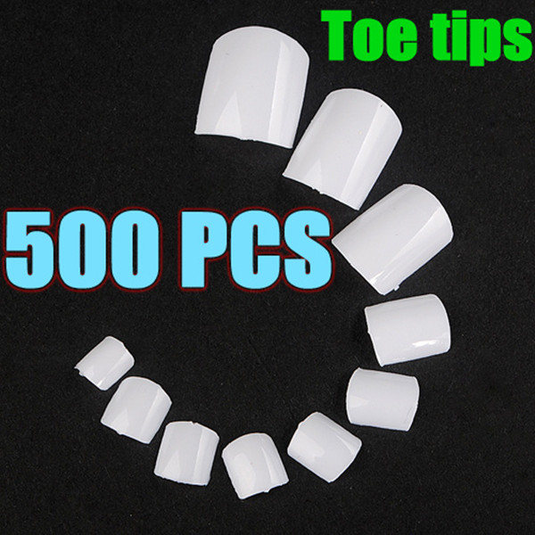 500pcs White UV Gel Acrylic False Toe 3D Nails Art Tips