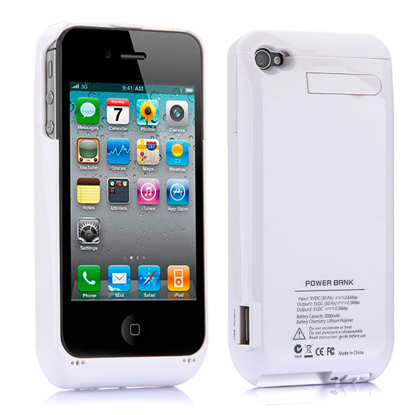 3000mAh External Power Pack Backup Battery For iPhone 4S
