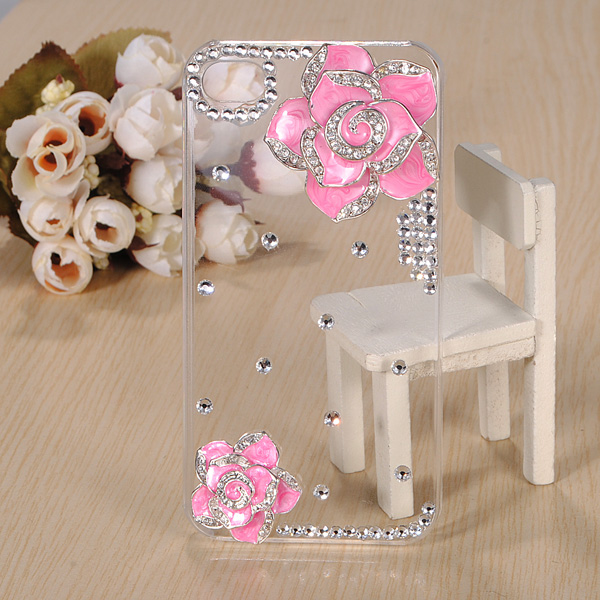 3D Sparkle Camellia Bling Crystal Diamond Hard Case For iPhone 4