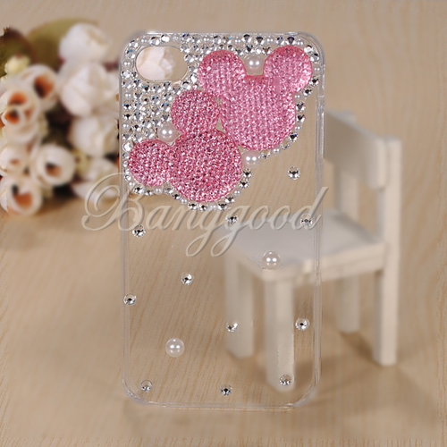 3D Lovely Mouse Sparkle Bling Crystal Diamond Case For iPhone 4