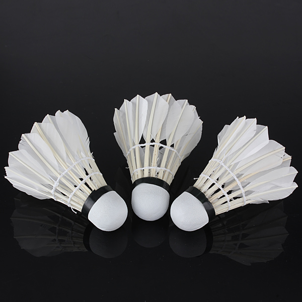 3 x White Goose Feather Shuttlecocks Birdies Badminton