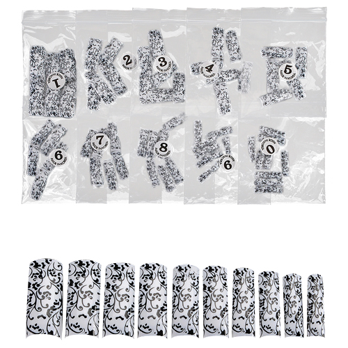 100pcs Flower Pattan French False 3D Nail Art Tips White
