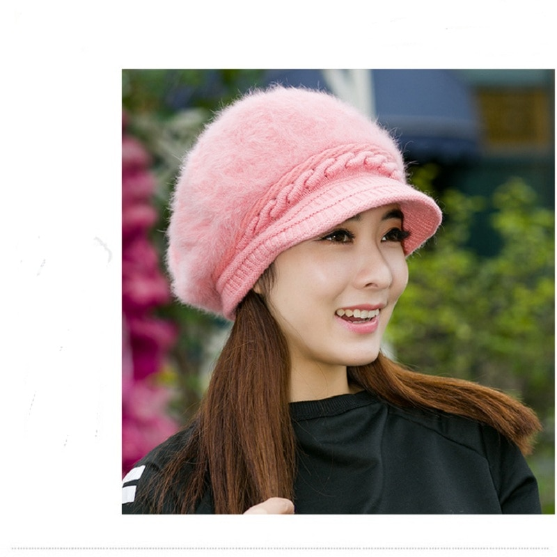 Girls Casual Hip Hop Cap Real Raccoon Fur Ball Pom Poms Knitted Wool S