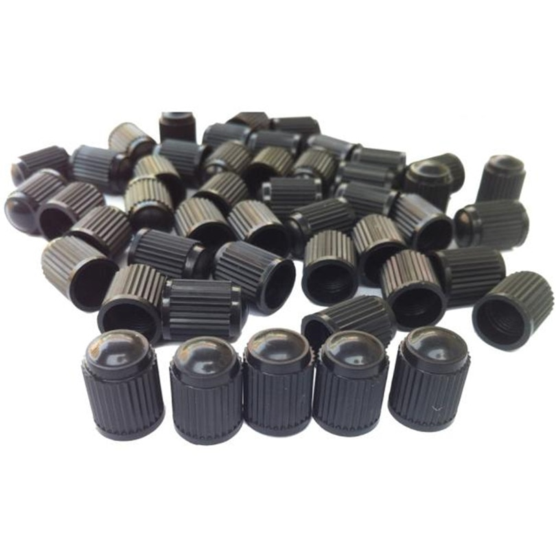 Car Styling  Hot Classic 100PC Black Plastic Tire Valve Stem Caps