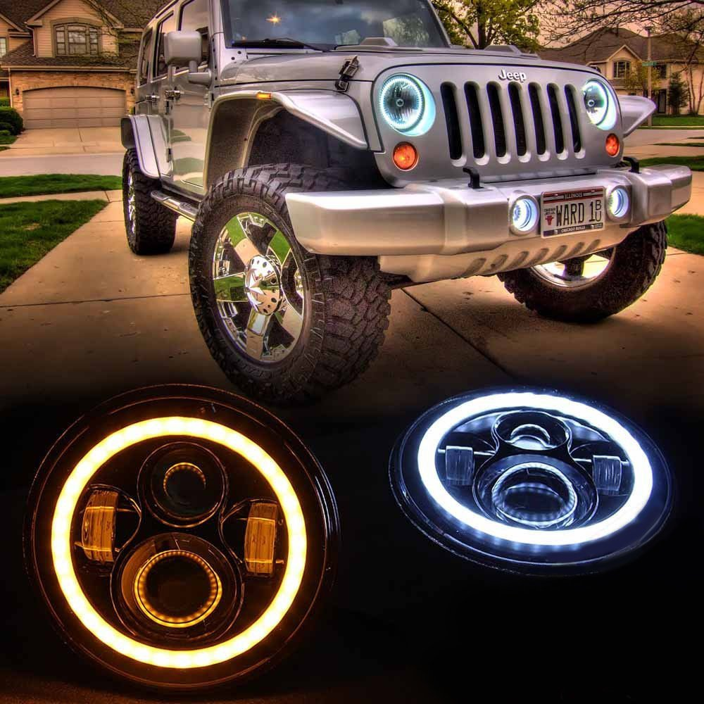 "7 Inch Round Black Housing light 7""  LED Headlights Halo Angle Eyes w"