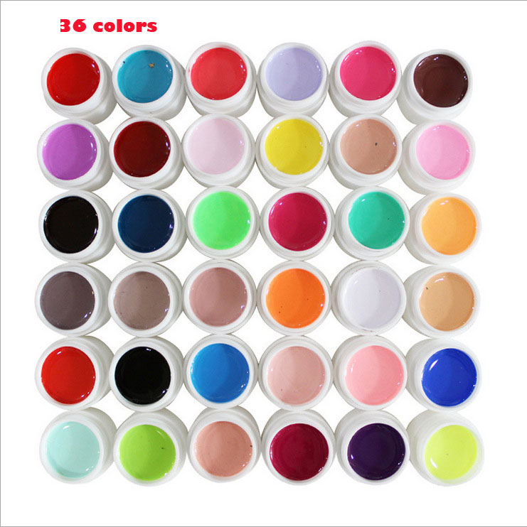 /set Pure Colour uv gel Nail Art Tips Shiny Cover Extension Manicure g