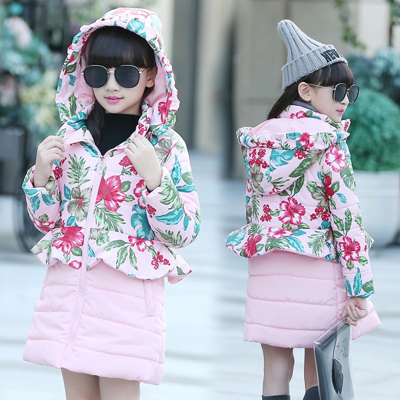 2016 winter child thickening outerwear cotton-padded jacket female chi