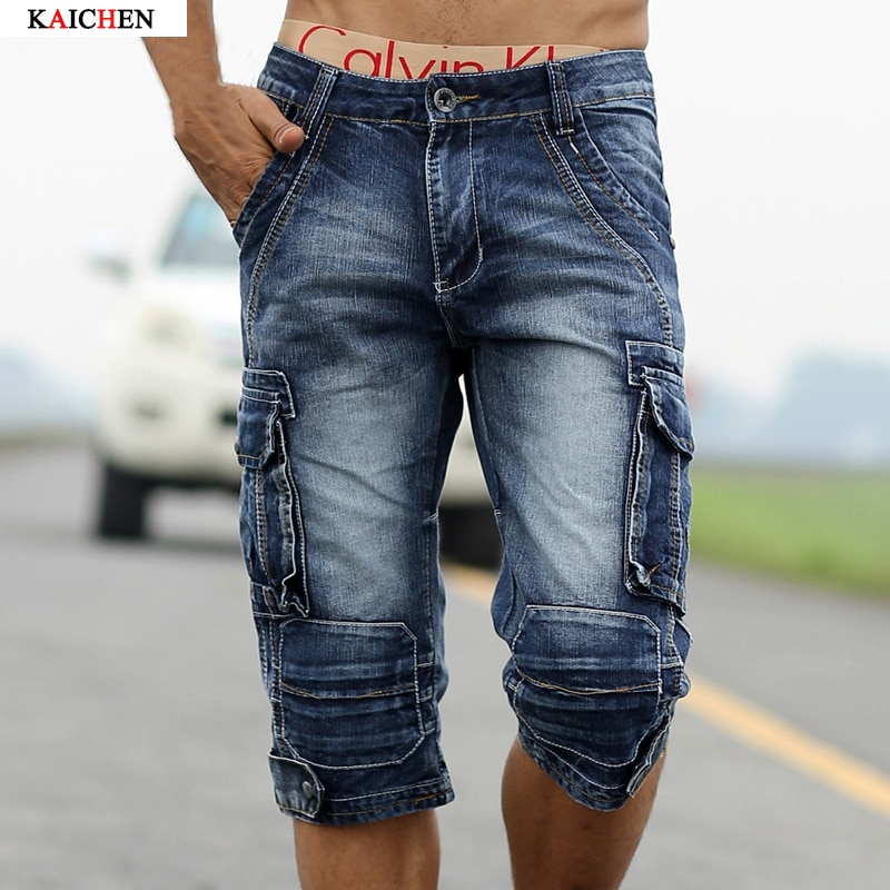 Arrival Men's Denim Shorts Male Fashion Shorts Multi-pocket Cargo Shor