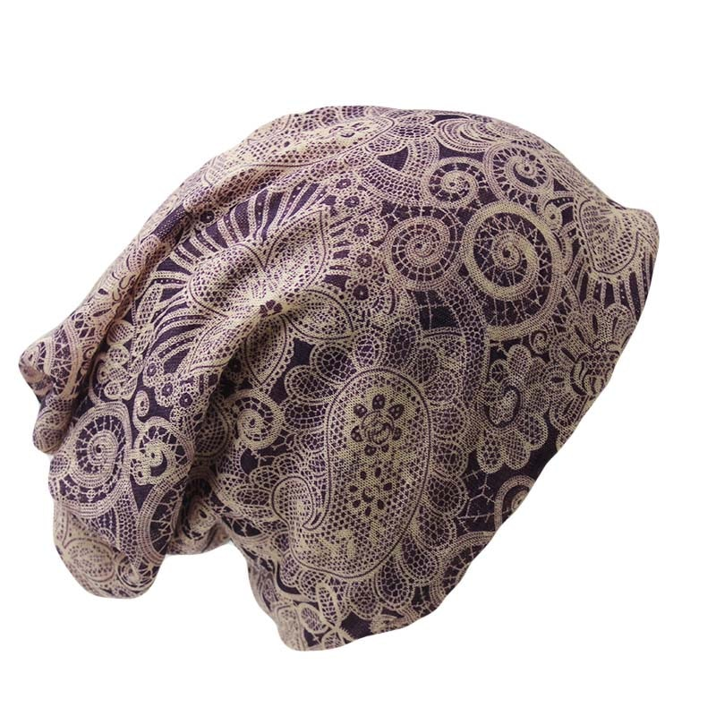 Adult Women Hat Polyester Floral Autumn Winter Cap Scarf  Ladies Fashi