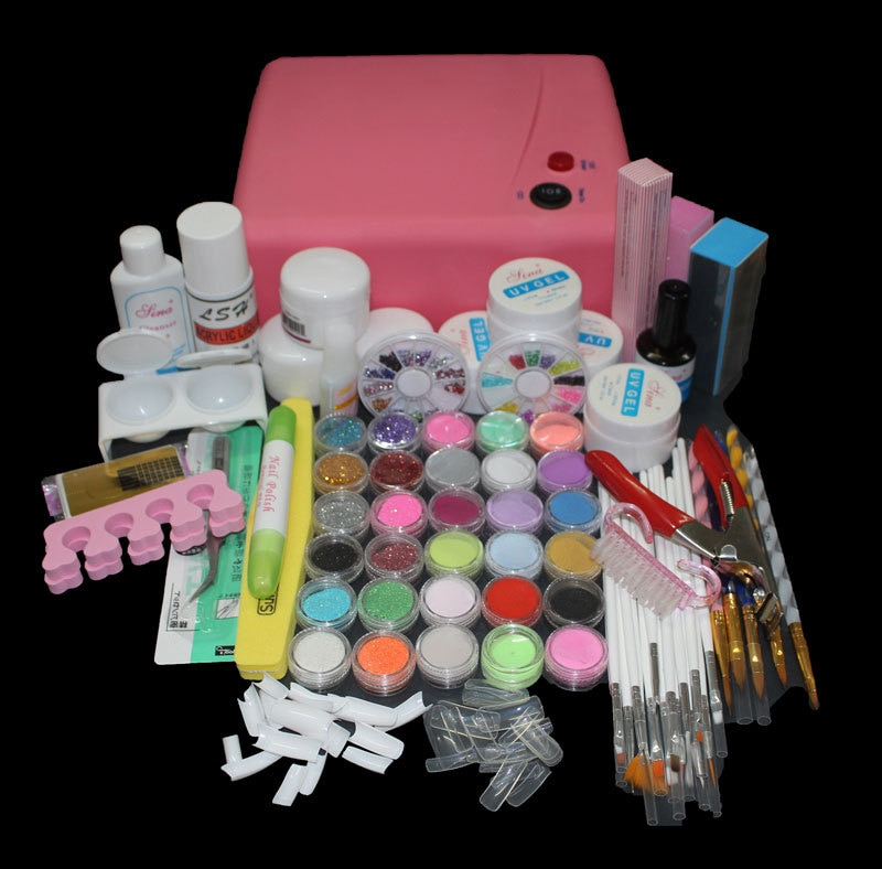 free shipping Pro 36W UV Dryer acrylic nail art set ,acrylic nail ki